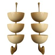 Pair 3-Cup Sconces by Stilnovo